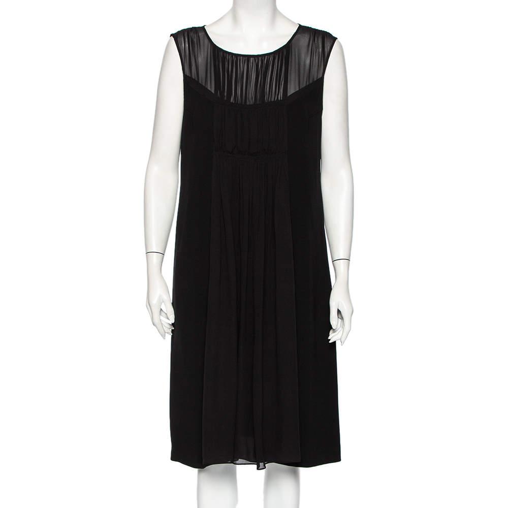 Max Mara Studio Black Crepe & Chiffon Paneled Sleeveless Midi Dress L