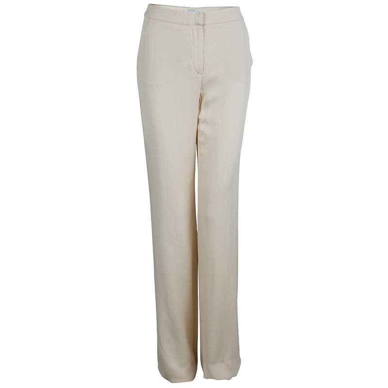 Max Mara Beige Silk Crepe Trousers M