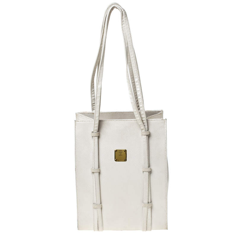 MCM Off White Leather Tote