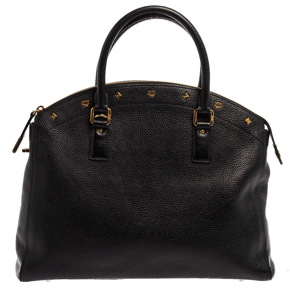 MCM Black Leather Dome Satchel