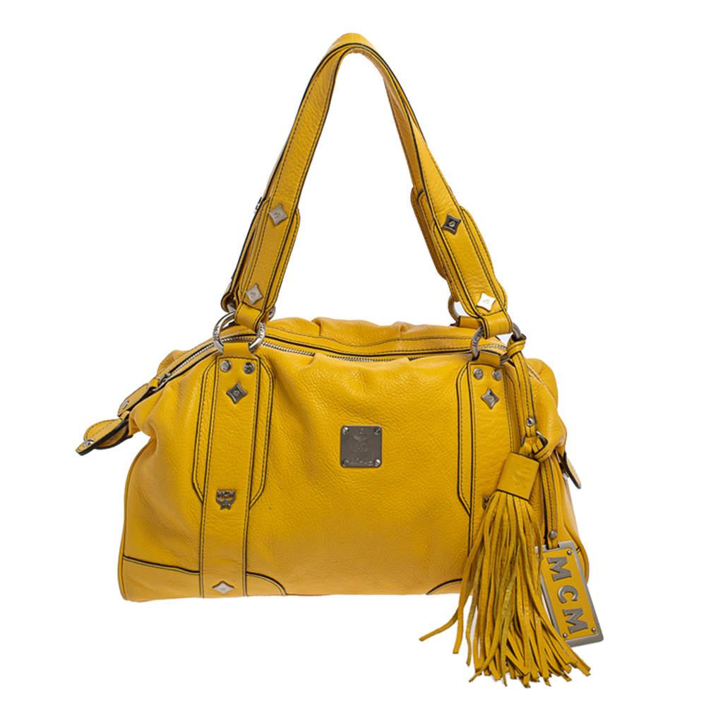 حقيبة ساتشل أم سي أم شراشيب جلد أصفر