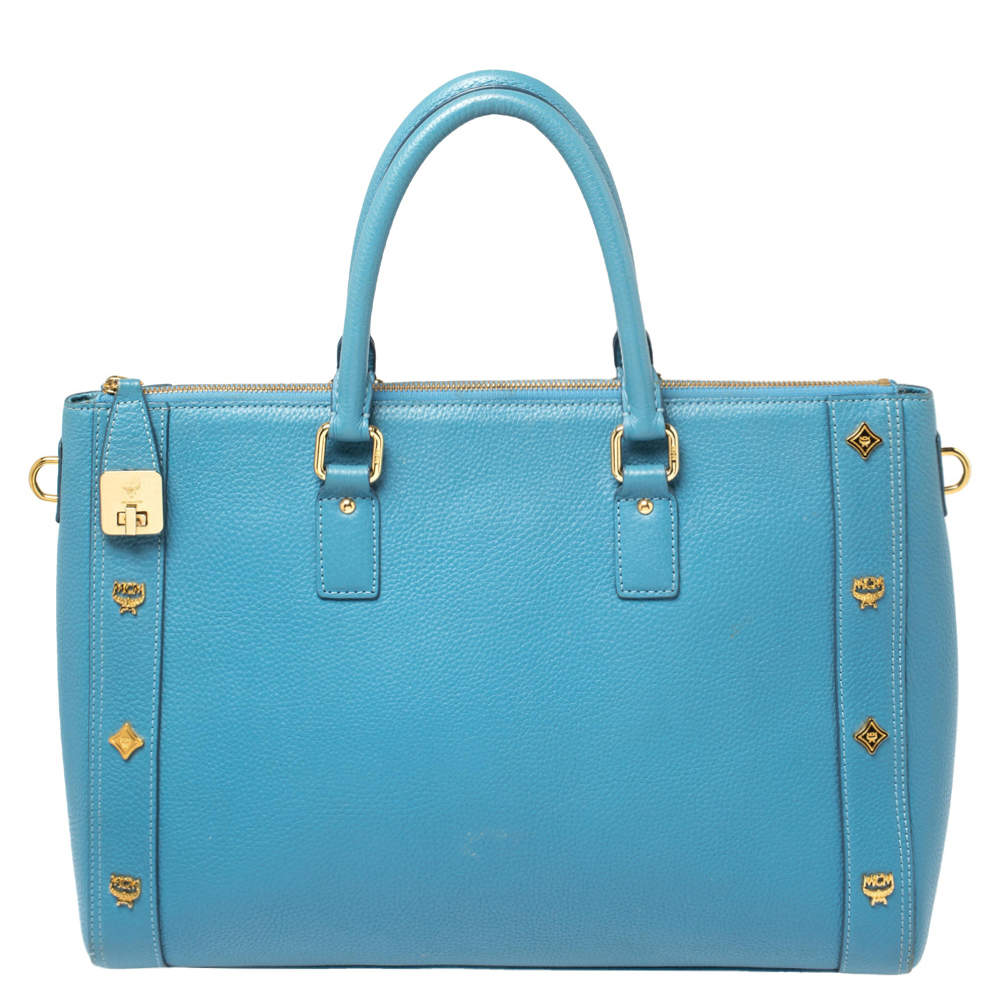 MCM Blue Leather Studded Zip Tote