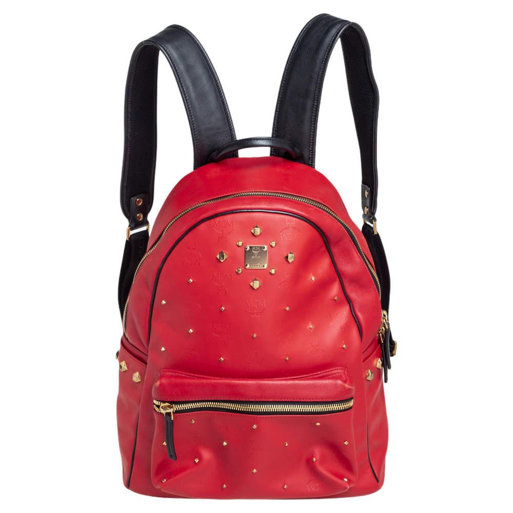 حقيبة ظهر إم سي إم ستارك جلد وكانفاس مقوى أحمر مرصع
