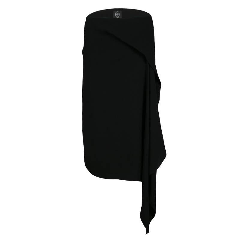 MCQ By Alexander McQueen Black Handkerchief Drape Asymmetric Skirt S