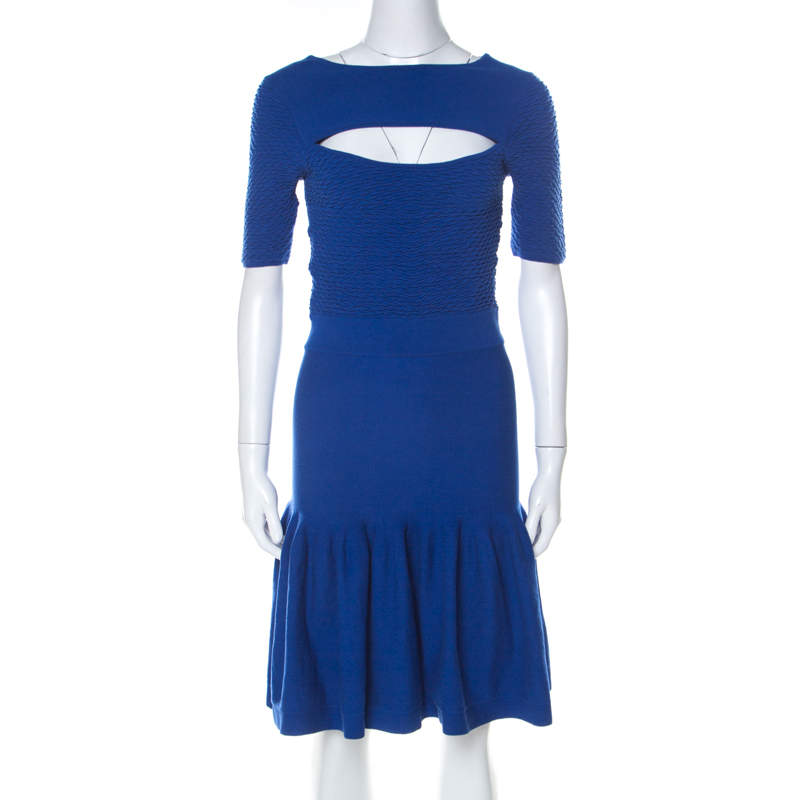 McQ by Alexander McQueen Blue Jersey Cut Out Neck Detail Fitted Fishtail Midi Dress S