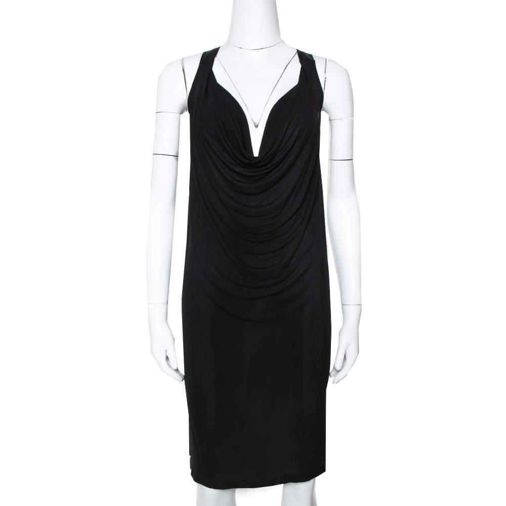 McQ by Alexander McQueen Black Jersey Cowl Neck Dress S