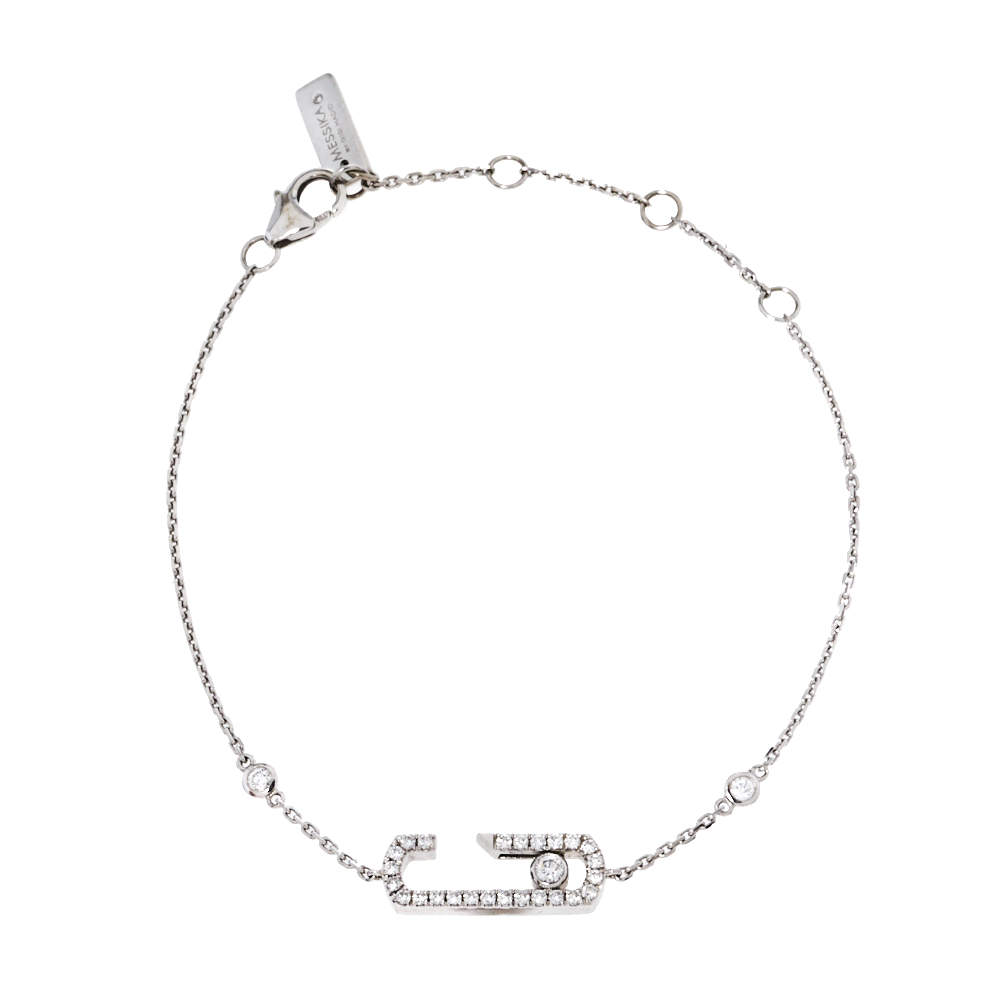 Messika by Gigi Hadid Move Addiction Pave Diamond 18K White Gold Bracelet