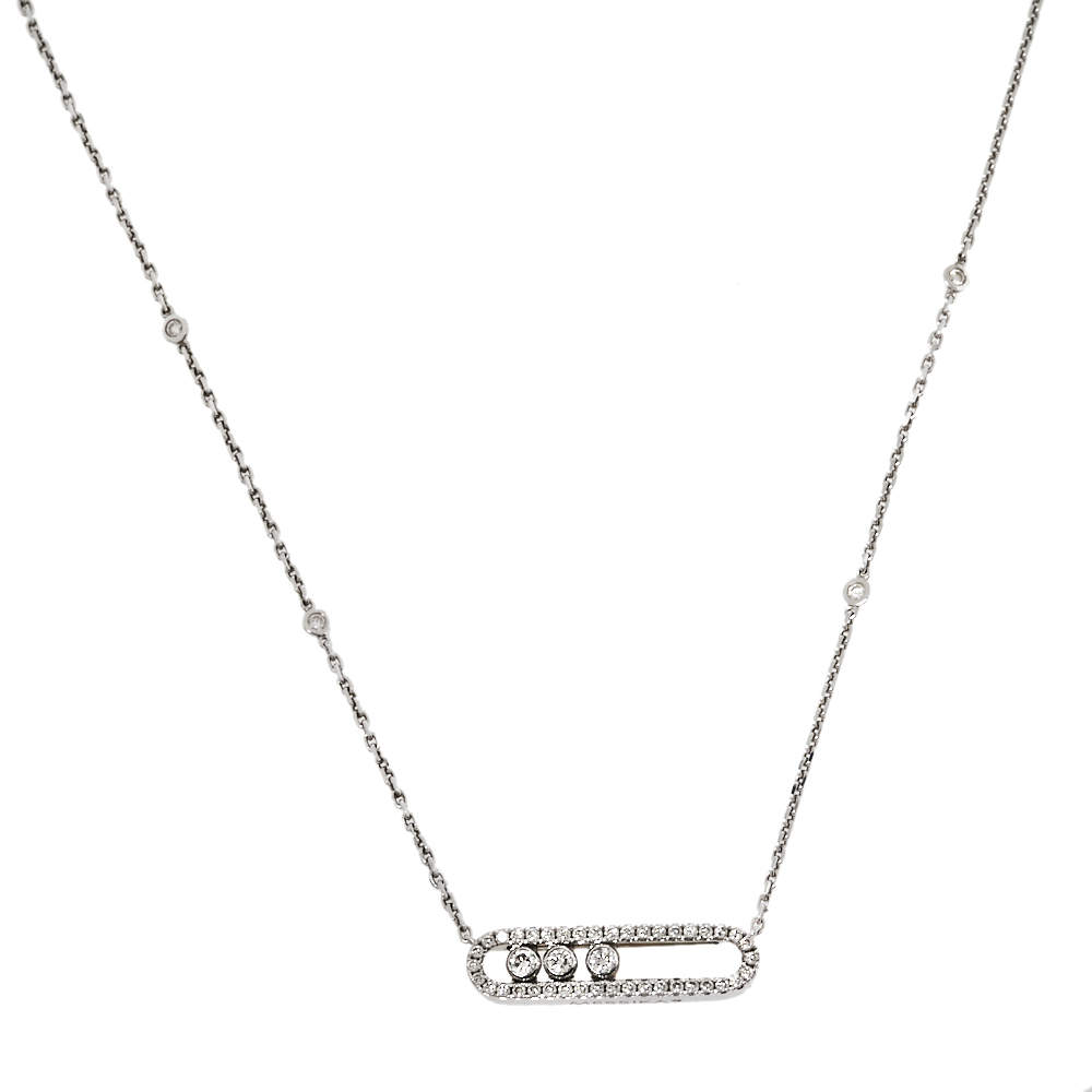 Messika Baby Move Pave Diamond 18K White Gold Pendant Necklace