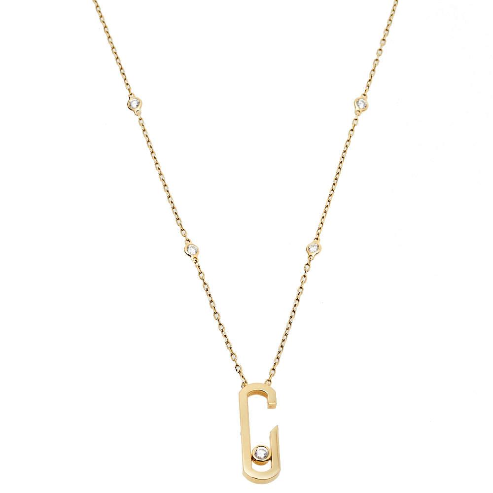 Messika By Gigi Hadid Move Addiction Diamond 18K Yellow Gold Pendant Necklace