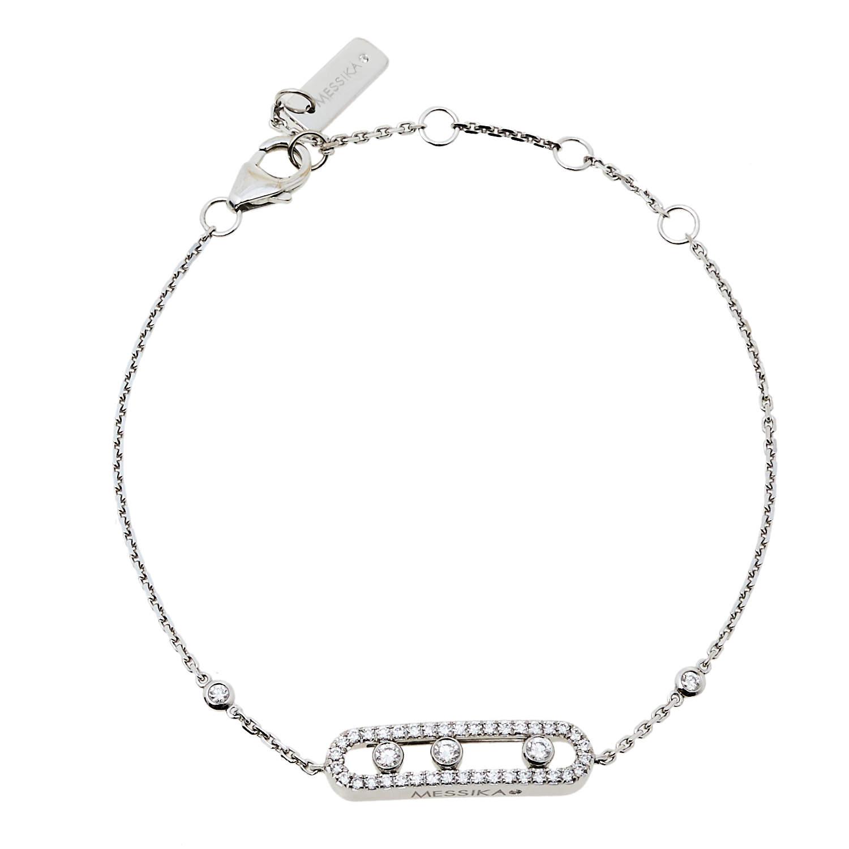 Messsika Baby Move Pave Diamond 18K White Gold Bracelet