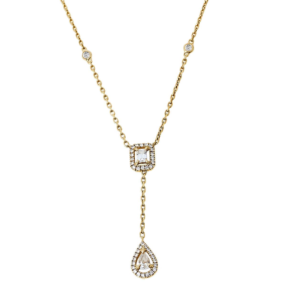 Messika My Twin Tie Diamond 18K Yellow Gold Necklace