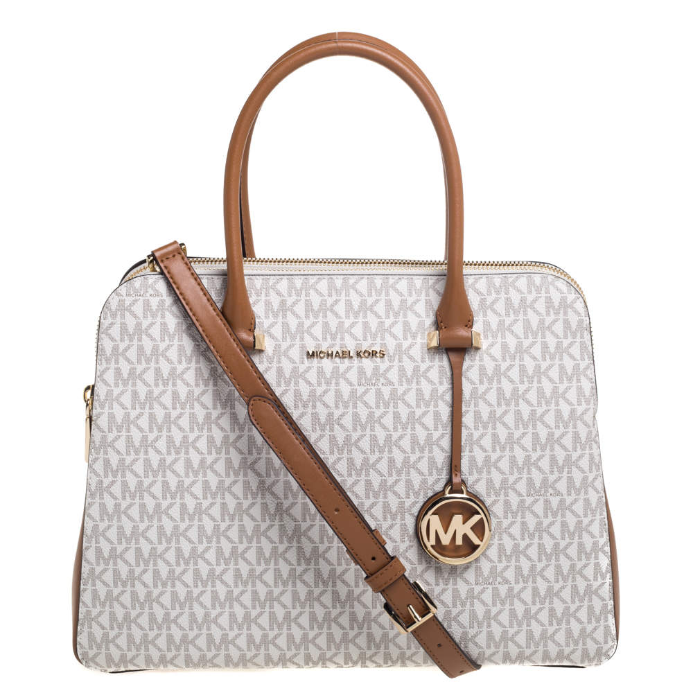 Michael Kors Ivory/Tan Signature Coated Canvas and Leather Houston Medium Satchel