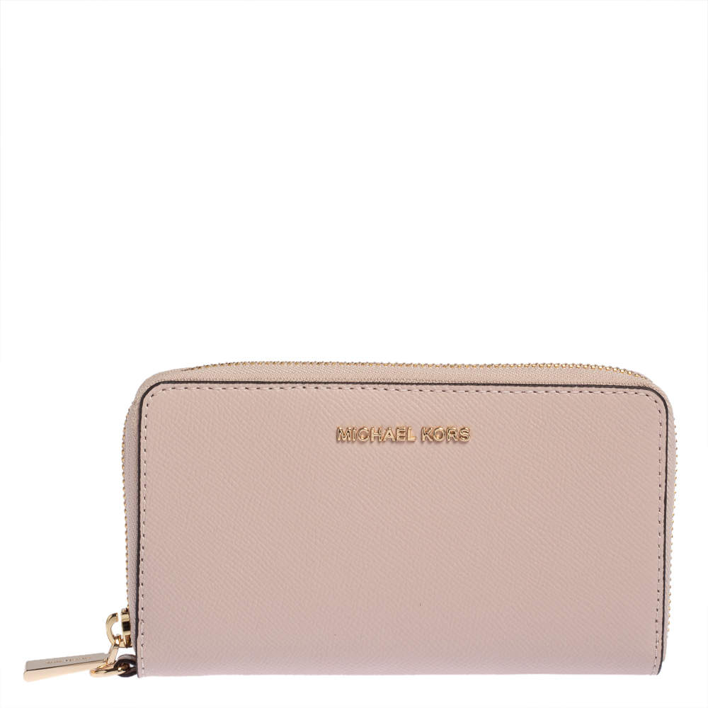Michael Kors Blush Pink Leather Zip Around Wristlet Wallet