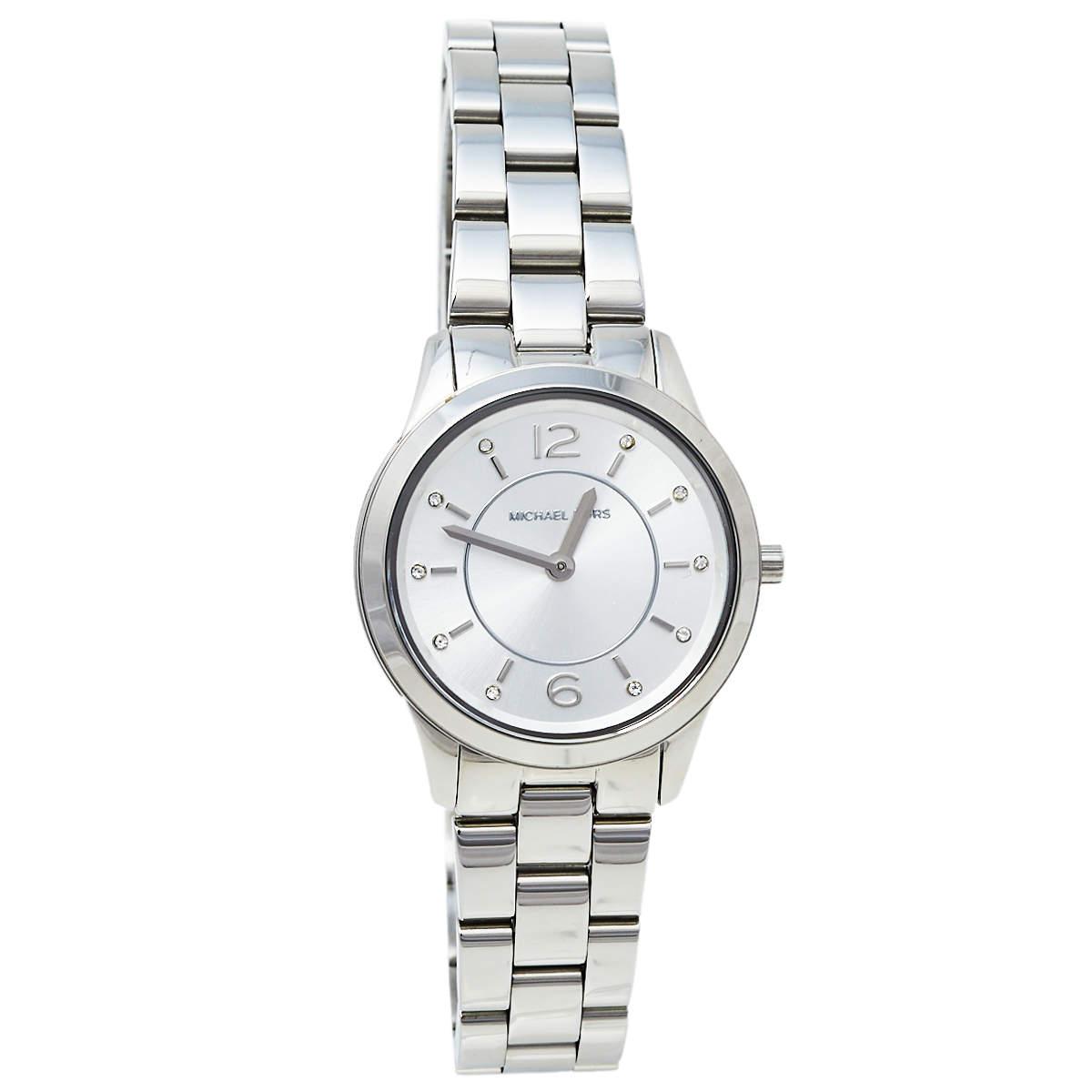 ساعة يد نسائية مايكل كورس رونواي إم كيه6610 ستانلس ستيل فضية 28 مم
