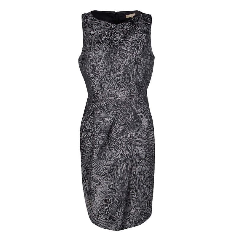 Michael Kors Grey Jacquard Sleeveless Sheath Dress L