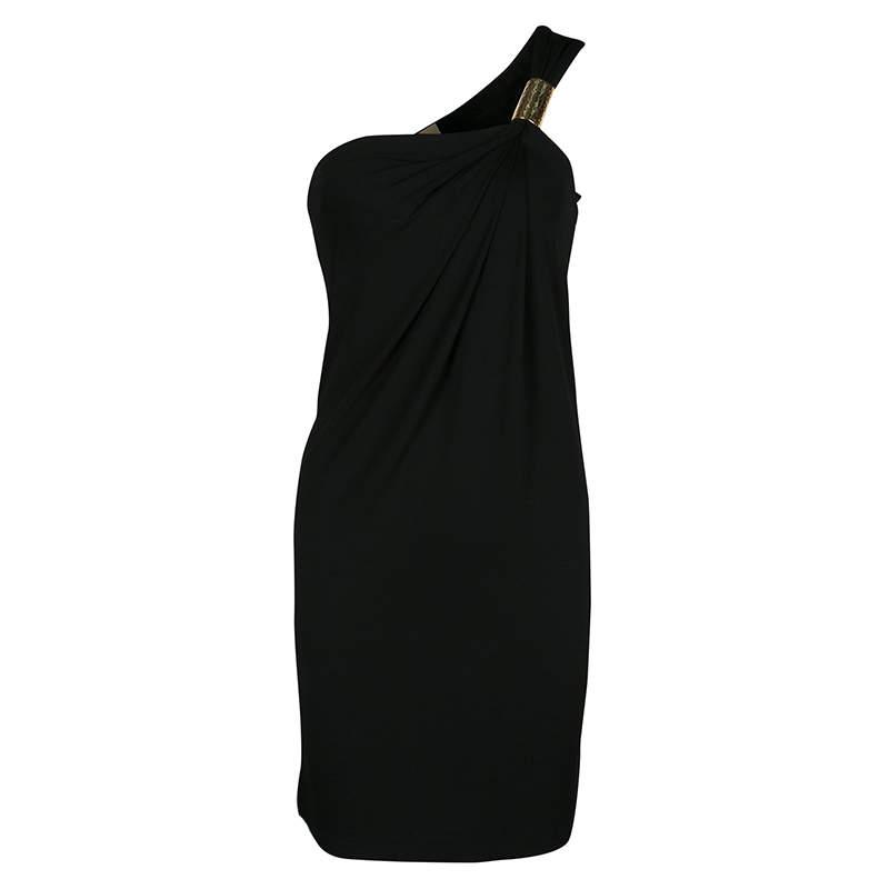 Michael Kors Black Draped Knit Metal Buckle Detail One Shoulder Dress XS
