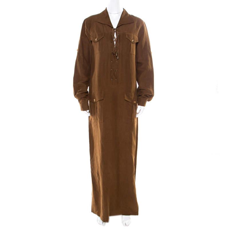 Micahel Kors Pecan Brown Linen Silk Lace Up Safari Dress L