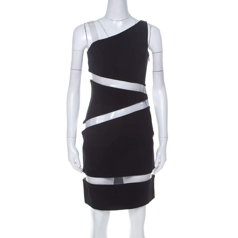 Michael Kors Black Moss Crepe PVC Insert One Shoulder Mini Dress S