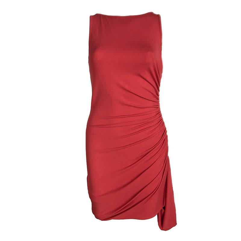 Michael Kors Red Ruched Zip Detail Sleeveless Dress M