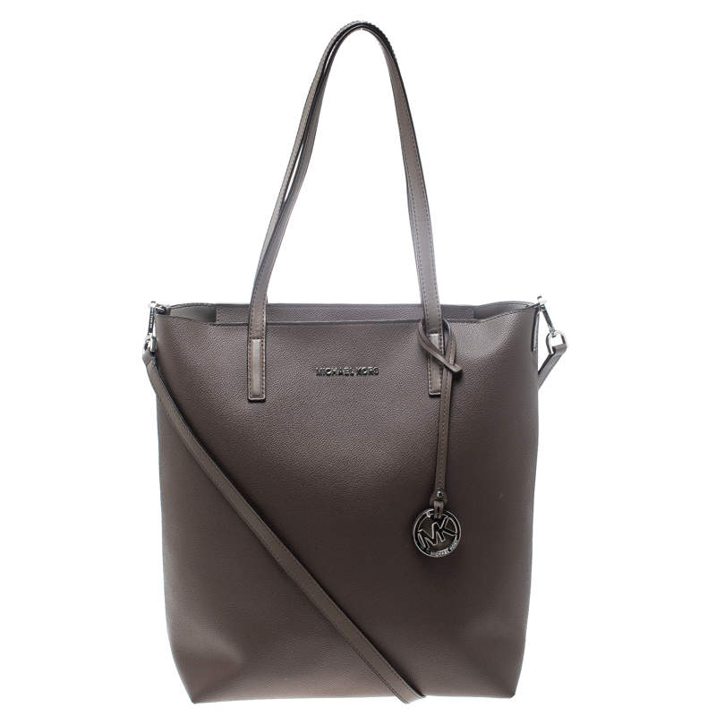 Michael Kors Dark Beige Leather Large Hayley Convertible Tote