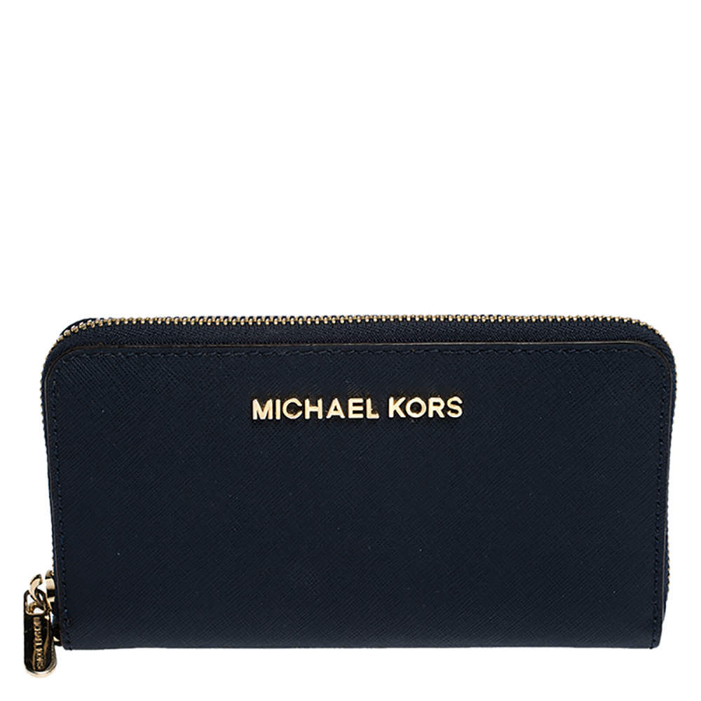 Michael Kors Blue Leather Zip Around Wristlet Wallet