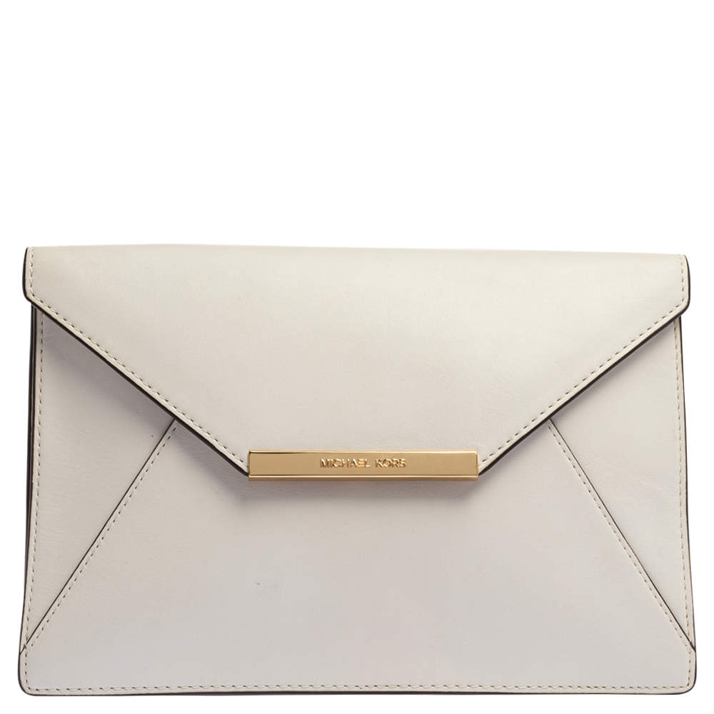 Michael Kors White Leather Lana Envelope Chain Clutch