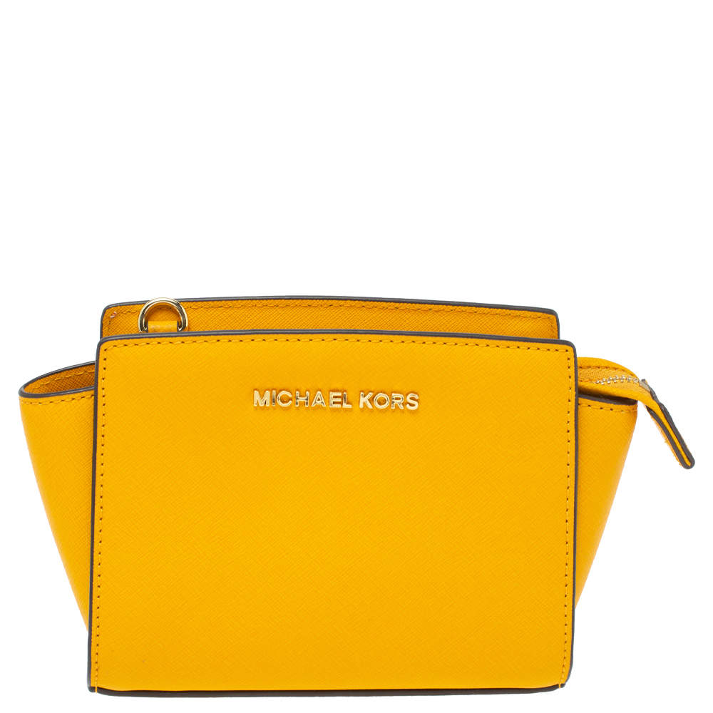 Michael Kors Yellow Leather Mini Selma Crossbody Bag