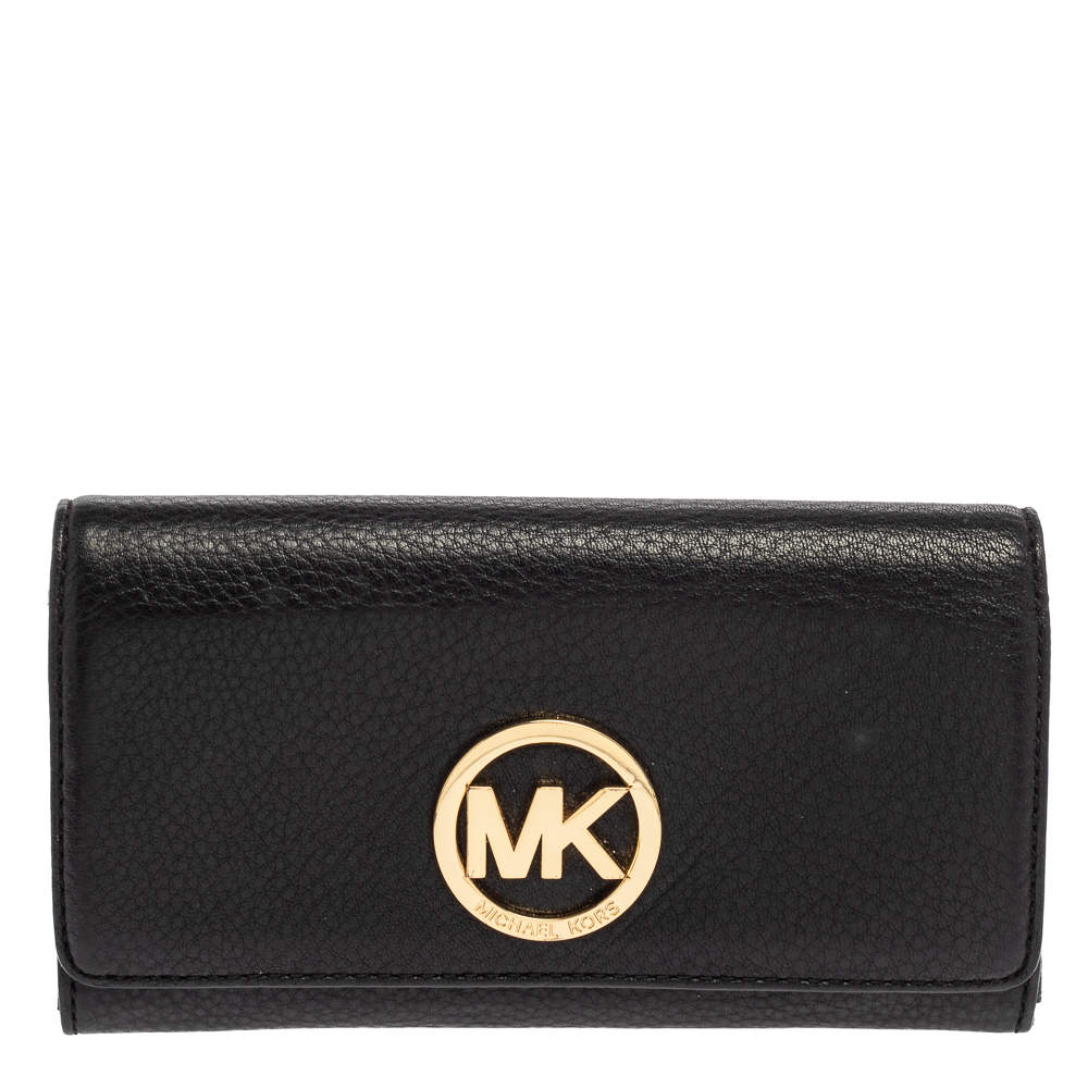 Michael Kors Black Leather Fulton Wallet