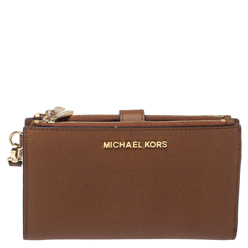 Michael Kors Brown Leather Jet Set Travel Double Zip Wristlet Wallet