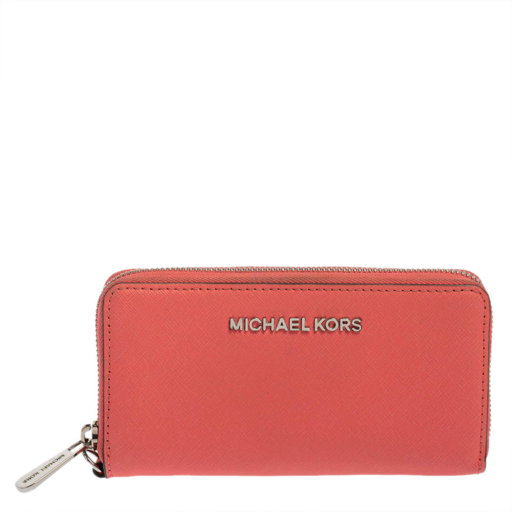 Michael Kors Pink Leather Zip Around Wristlet Wallet