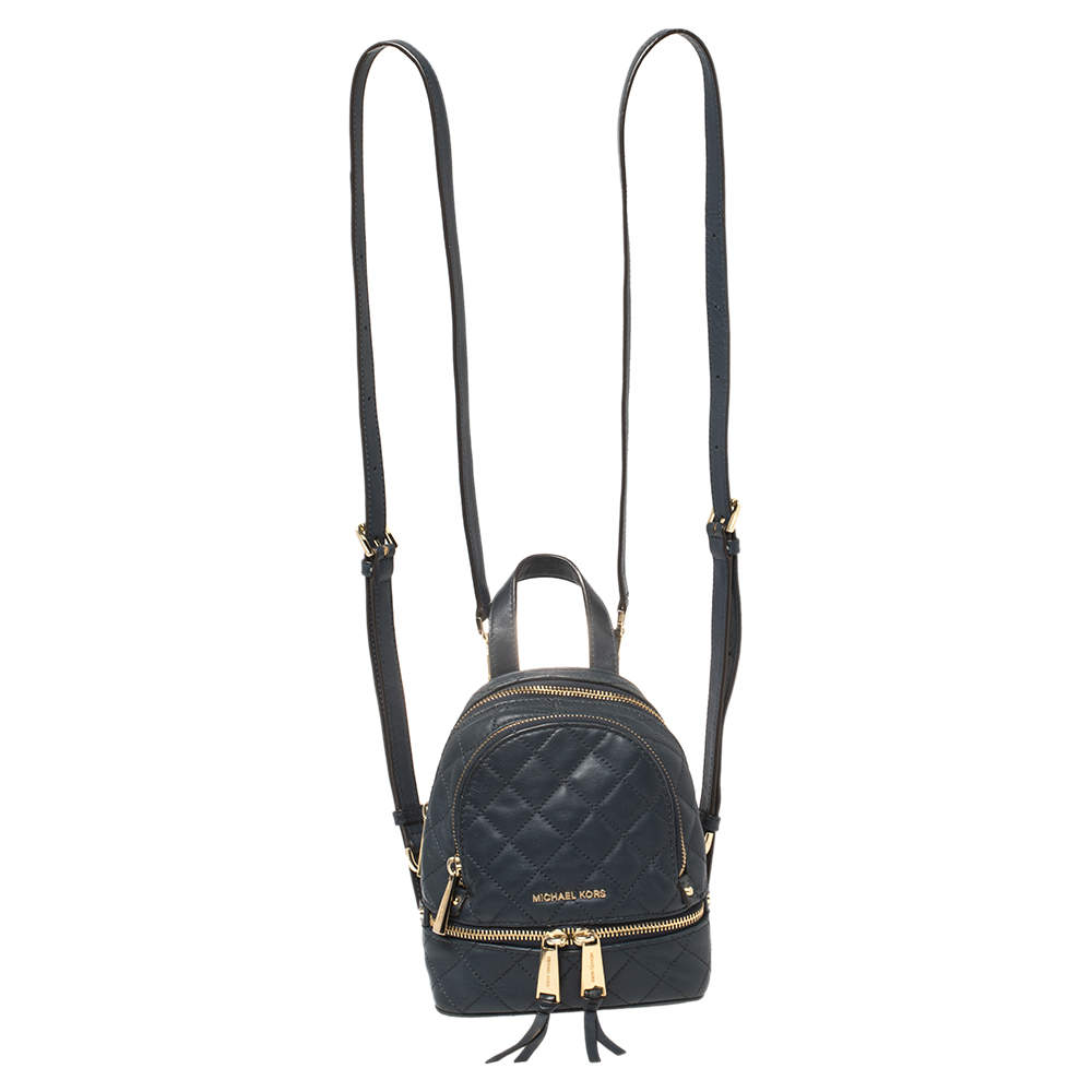 Michael Kors Blue Quilted Leather Mini Rhea Backpack