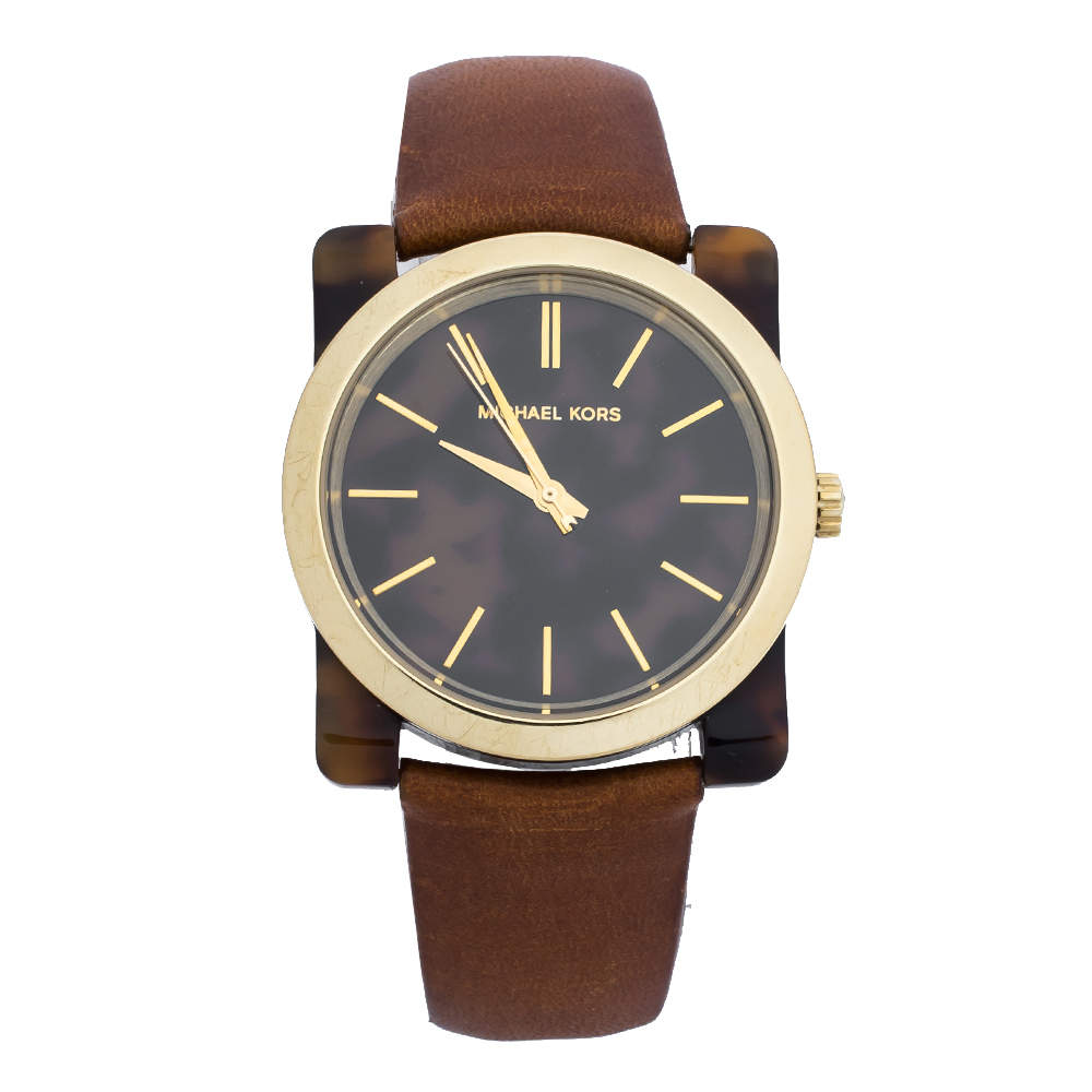 Michael Kors Brown Camouflage Gold Tone Stainless Steel Tortoise Shell Acetate Leather Kempton MK2484 Women's Wristwatch 39 mm