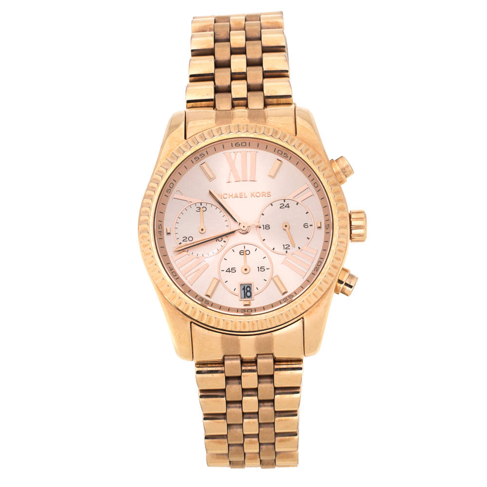 Michael Kors Rose Gold Plated Stainless Steel Lexington MK5569 Women's Wristwatch 38 mm