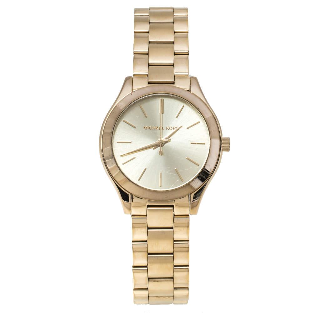 Michael Kors Champagne Yellow Gold Tone Slim Runway MK3512 Women's Wristwatch 32mm