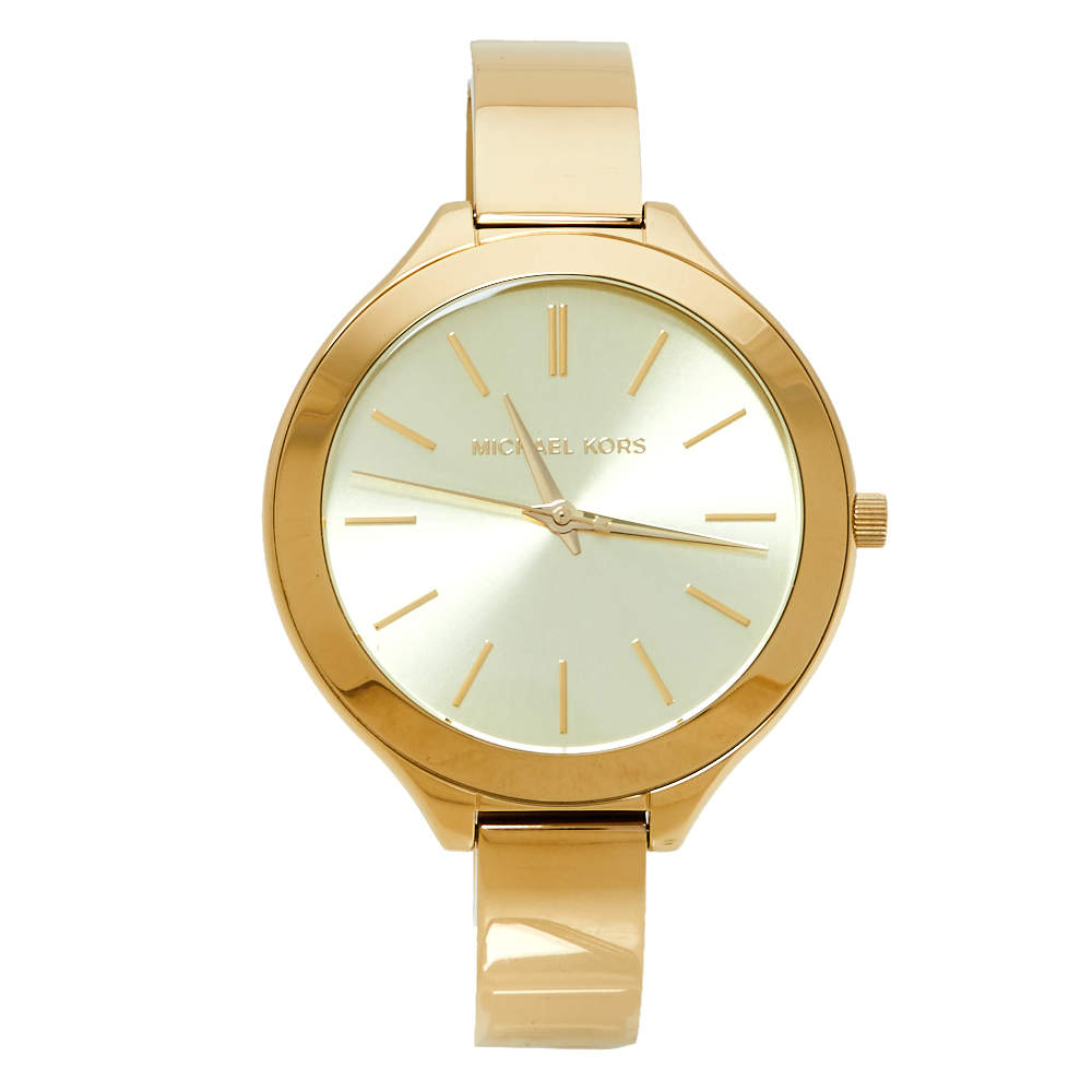 ساعة يد نسائية مايكل كورس رانواي أم كيه3275 ستانلس ستيل لون ذهبي 42مم