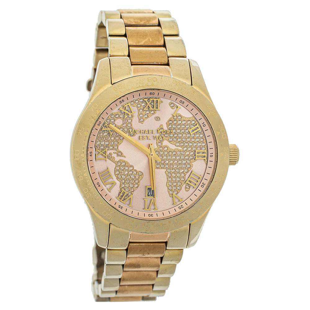Michael Kors Champagne Two-Tone Stainless Steel Layton MK6476 Women's Wristwatch 44 mm