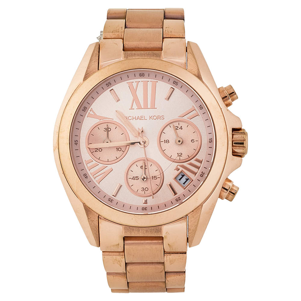 Michael Kors Rose Gold Tone Stainless Steel Bradshaw Chronograph MK5799 Women's Wristwatch 36 mm
