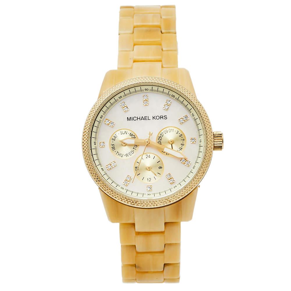 ساعة يد نسائية مايكل كورس جيت سيت إم كيه5039 بلاستيك و رزين و ستانلس ستيل لون ذهبي و صدف 37 مم