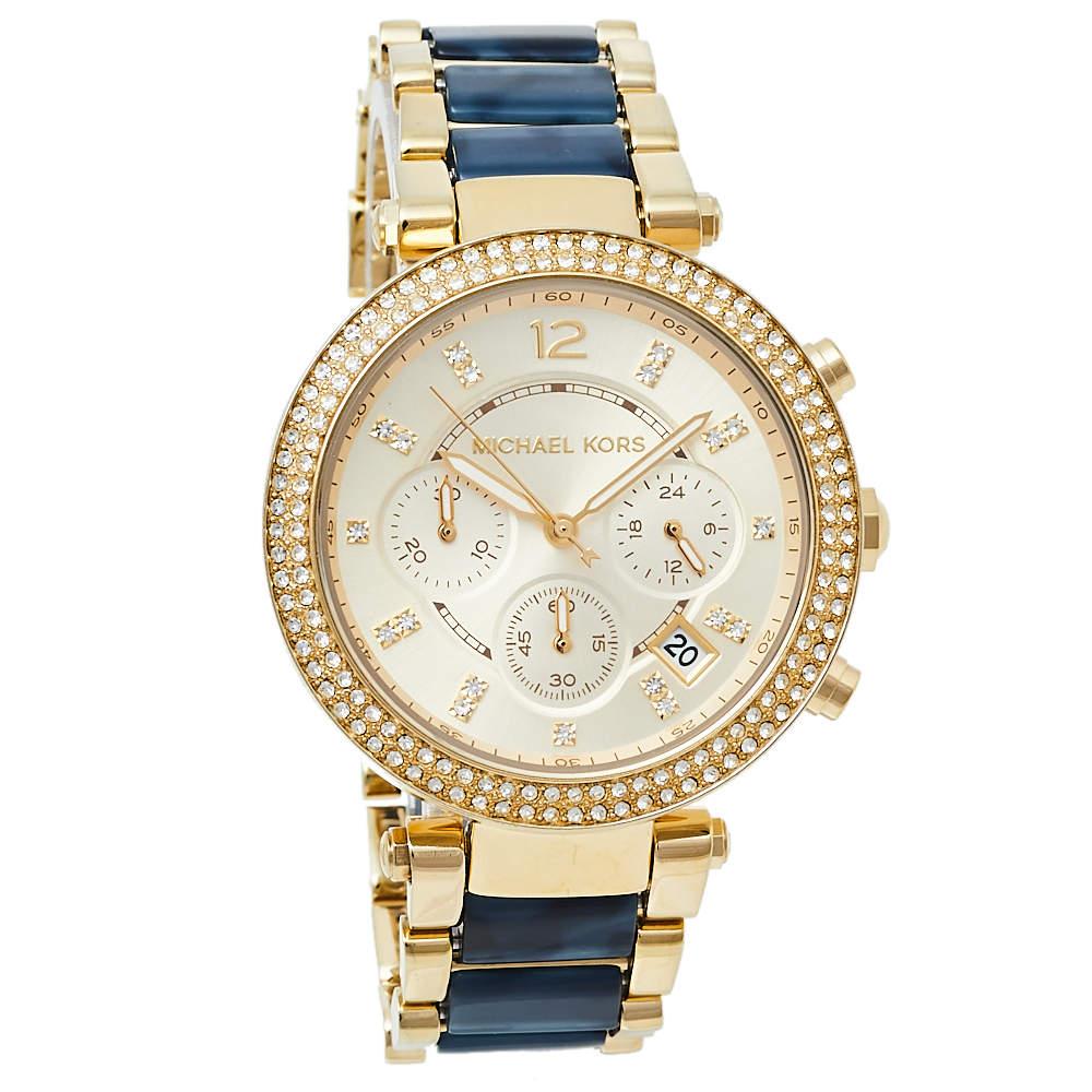 ساعة يد نسائية مايكل كورس باركر MK6238 ستانلس ستيل مطلي ذهب شامبانيا 39مم