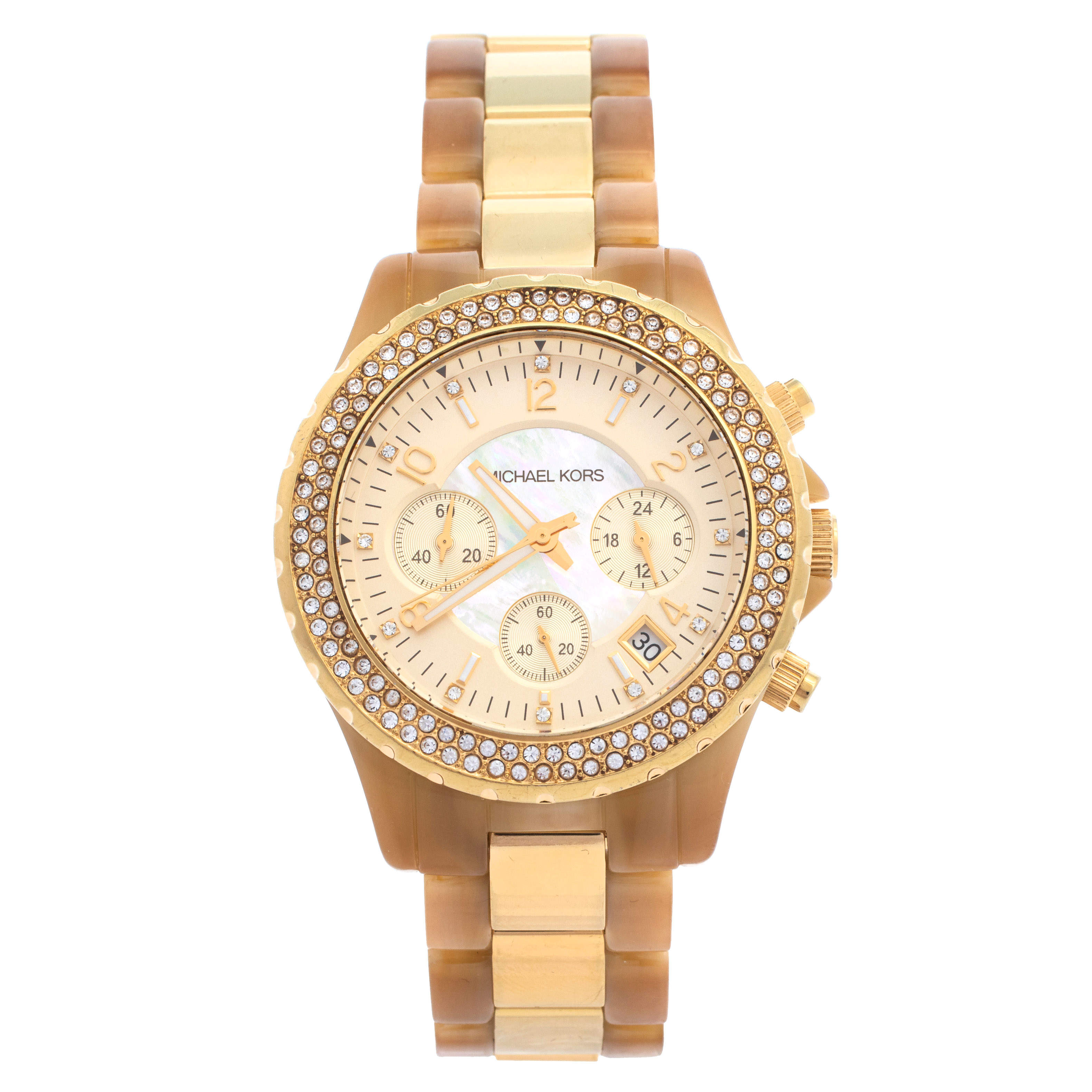 Michael Kors Gold Tone Stainless Steel Horn Acetate Madison MK5417 Women's Wristwatch 42 mm