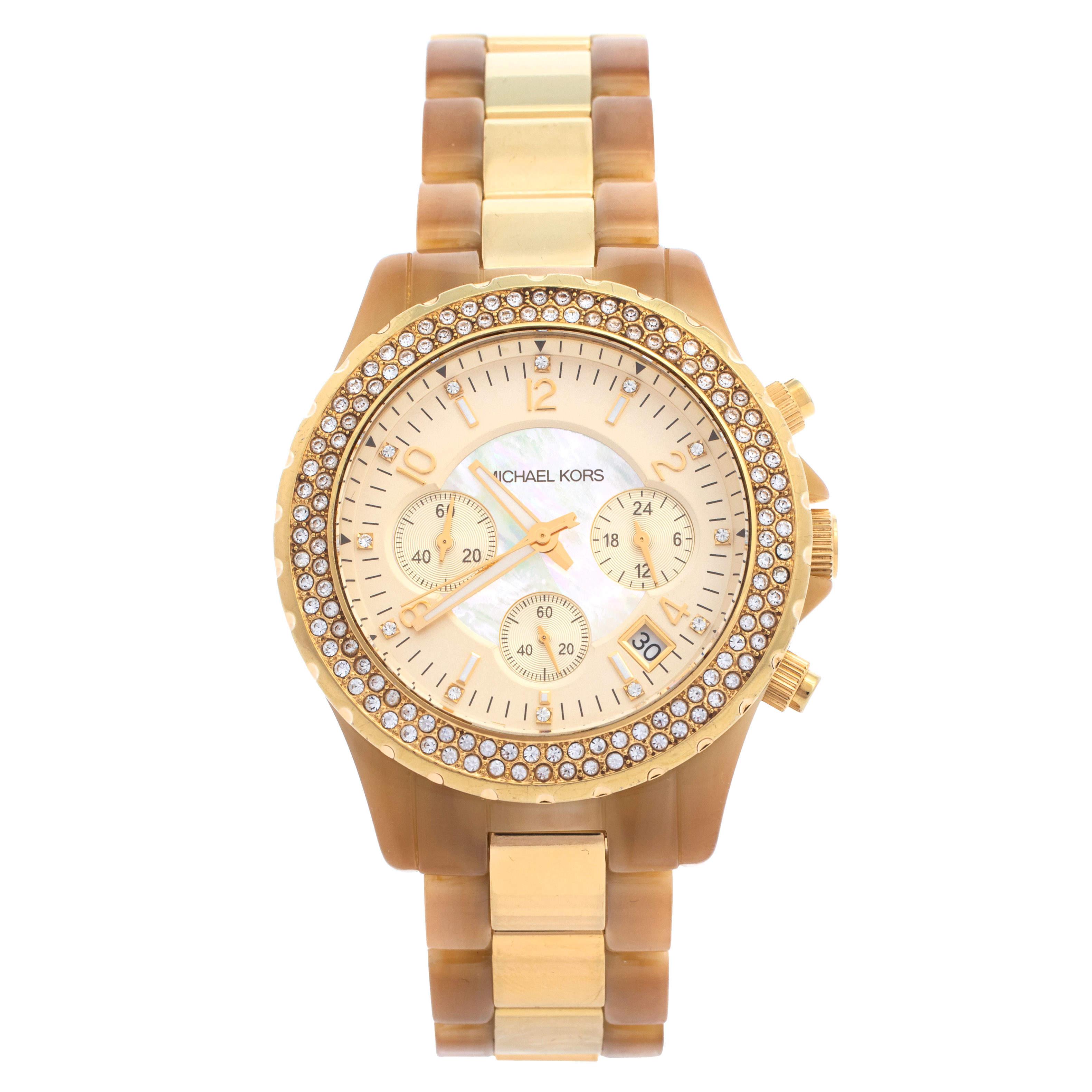 ساعة يد نسائية مايكل كورس ماديسون MK5417  هورن أسيتات ستانلس ستيل ذهبية اللون 42مم