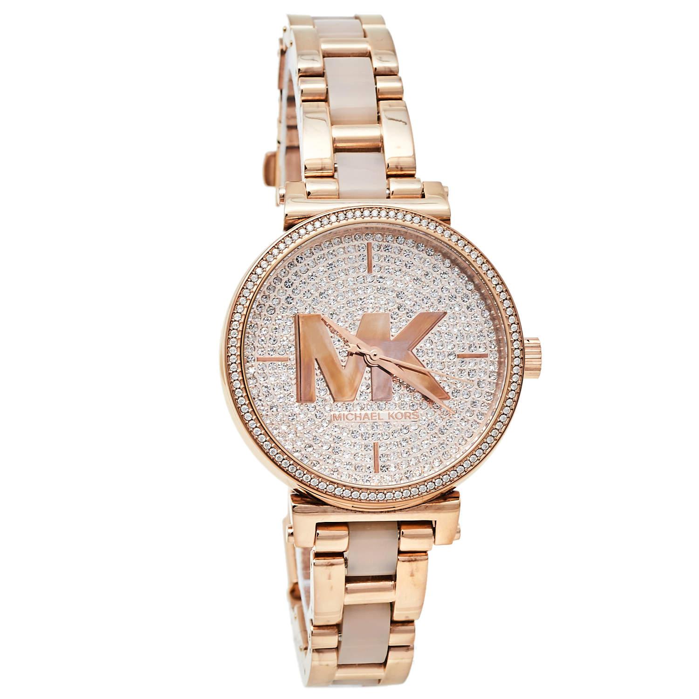 ساعة يد نسائية مايكل كورس سوفي إم كيه4336 ستانلس ستيل ذو لون ذهبي وردي 36 مم