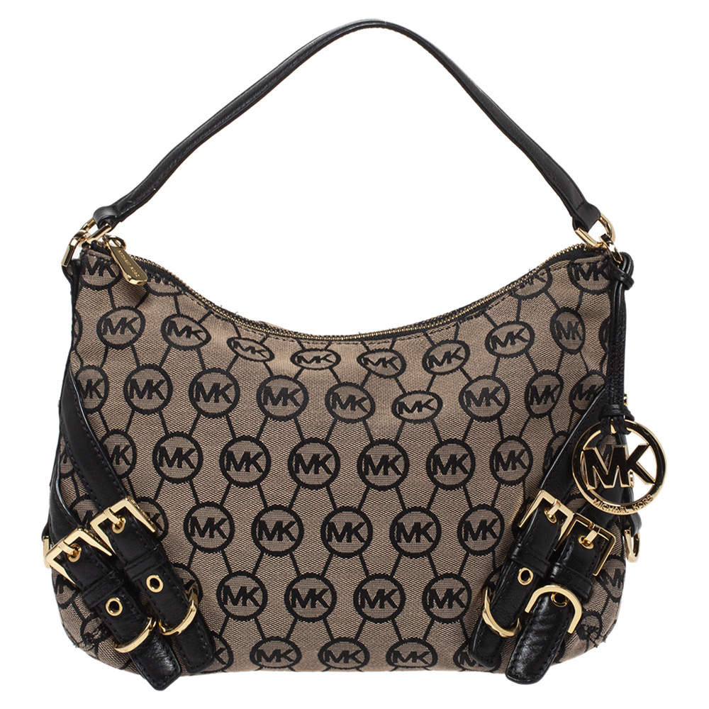 MICHAEL Michael Kors Beige/Black Canvas and Leather Hobo