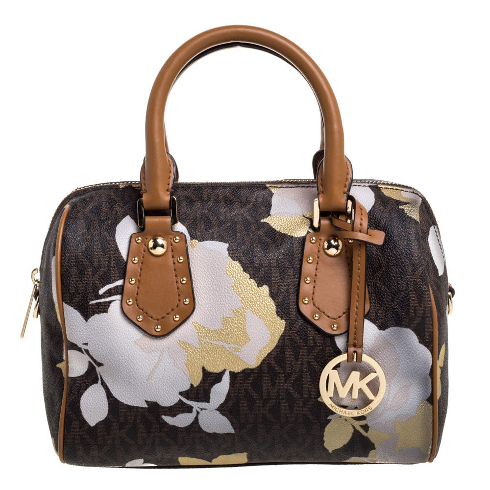 MICHAEL Michael Kors Brown Signature Floral Coated Canvas and Leather Small Aria Satchel