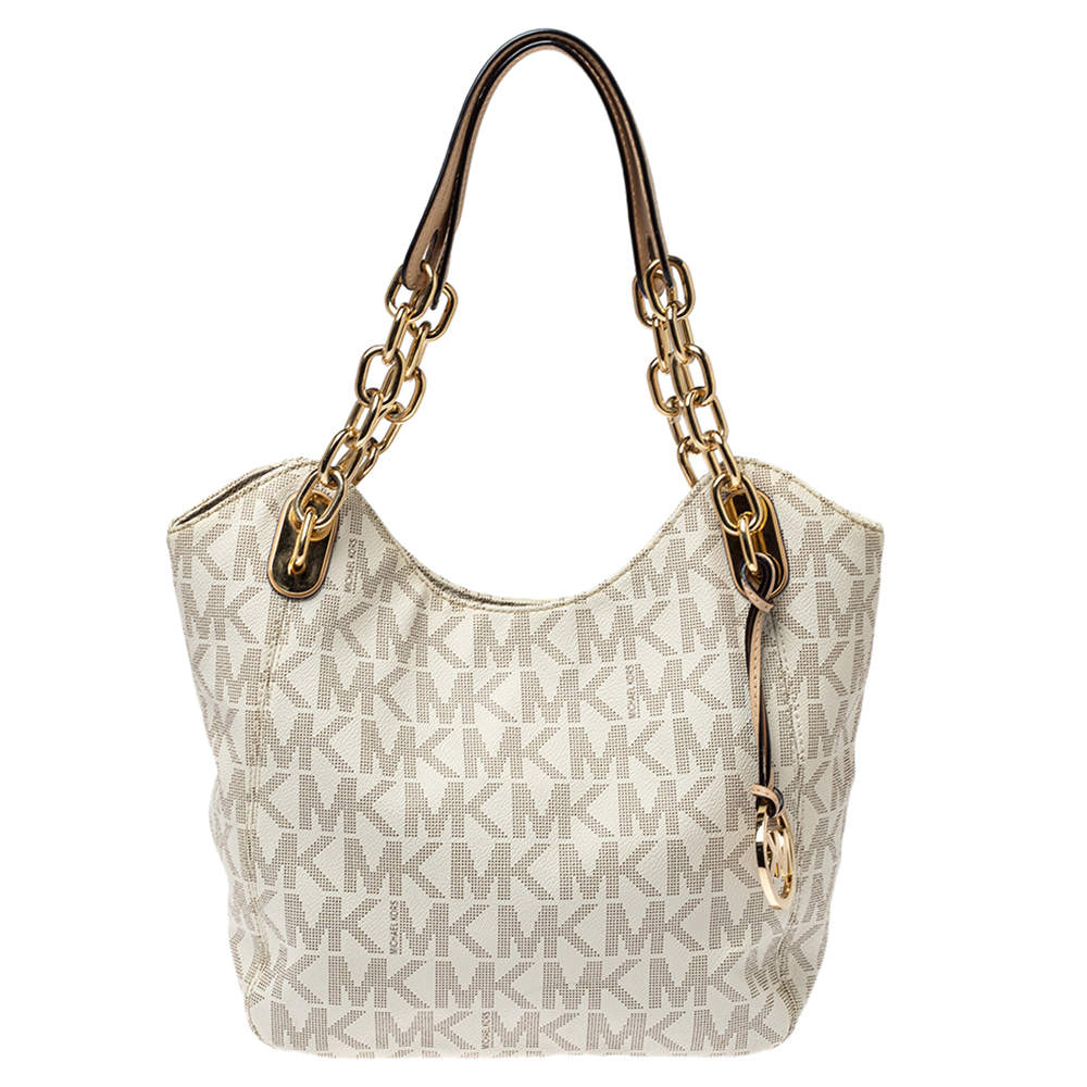 MICHAEL Michael Kors White Signature Coated Canvas Lilly Tote