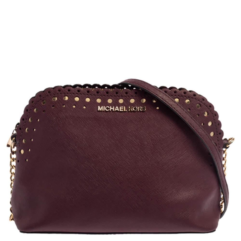 MICHAEL Michael Kors Burgundy Leather Cindy Dome Crossbody Bag