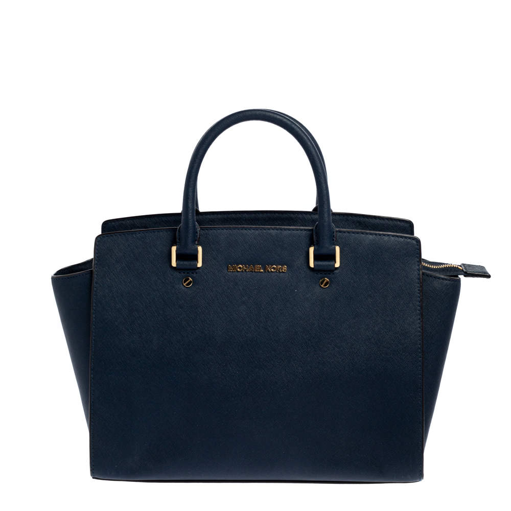 MICHAEL Michael Kors Navy Blue Leather Large Selma Satchel