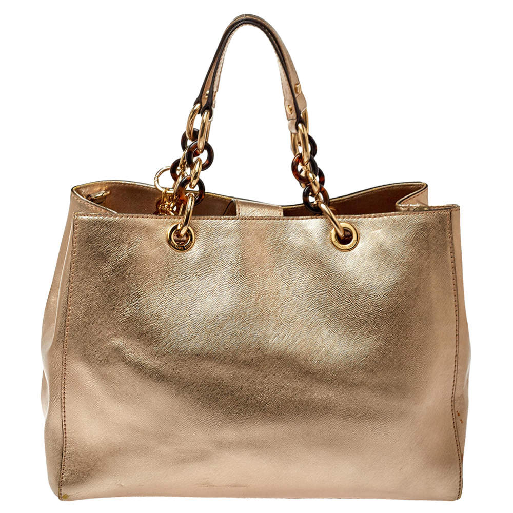 MICHAEL Michael Kors Gold Saffiano Leather Large Cynthia Tote
