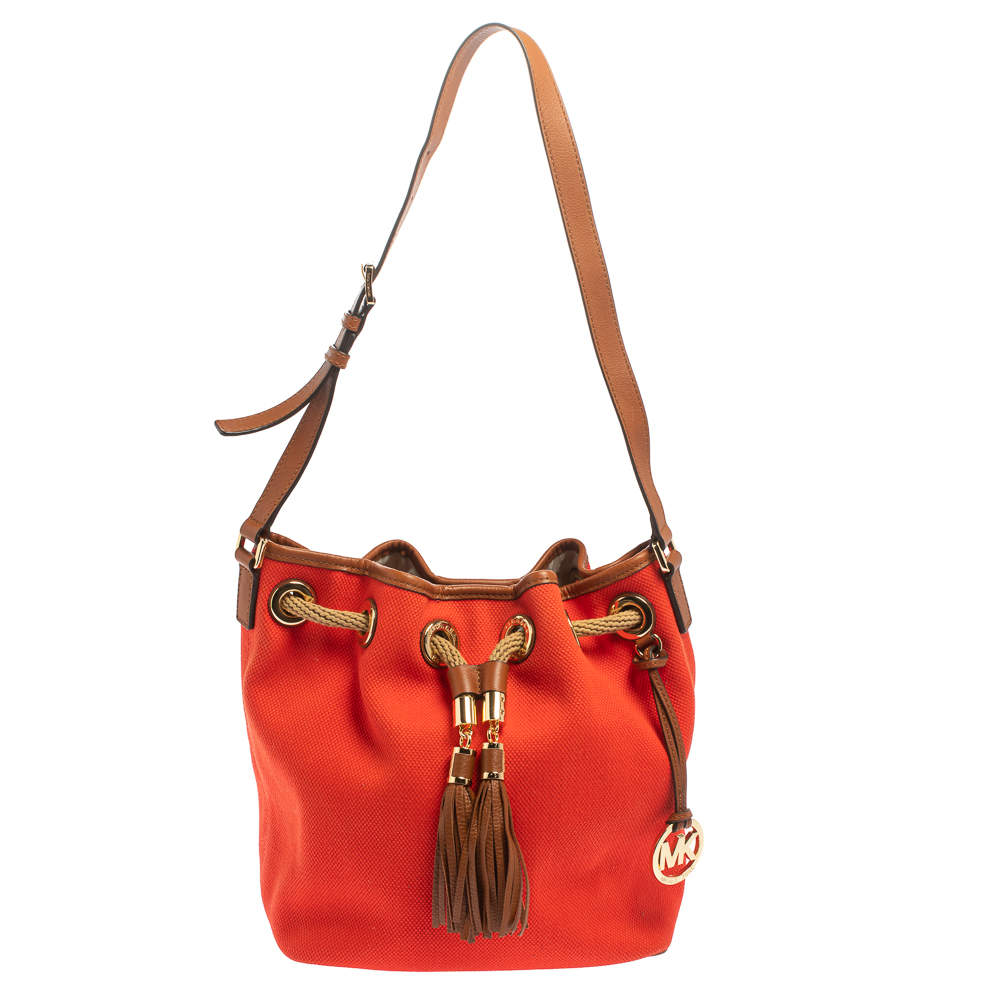Michael Michael Kors Red Canvas and Leather Marina Drawstring Bucket Bag
