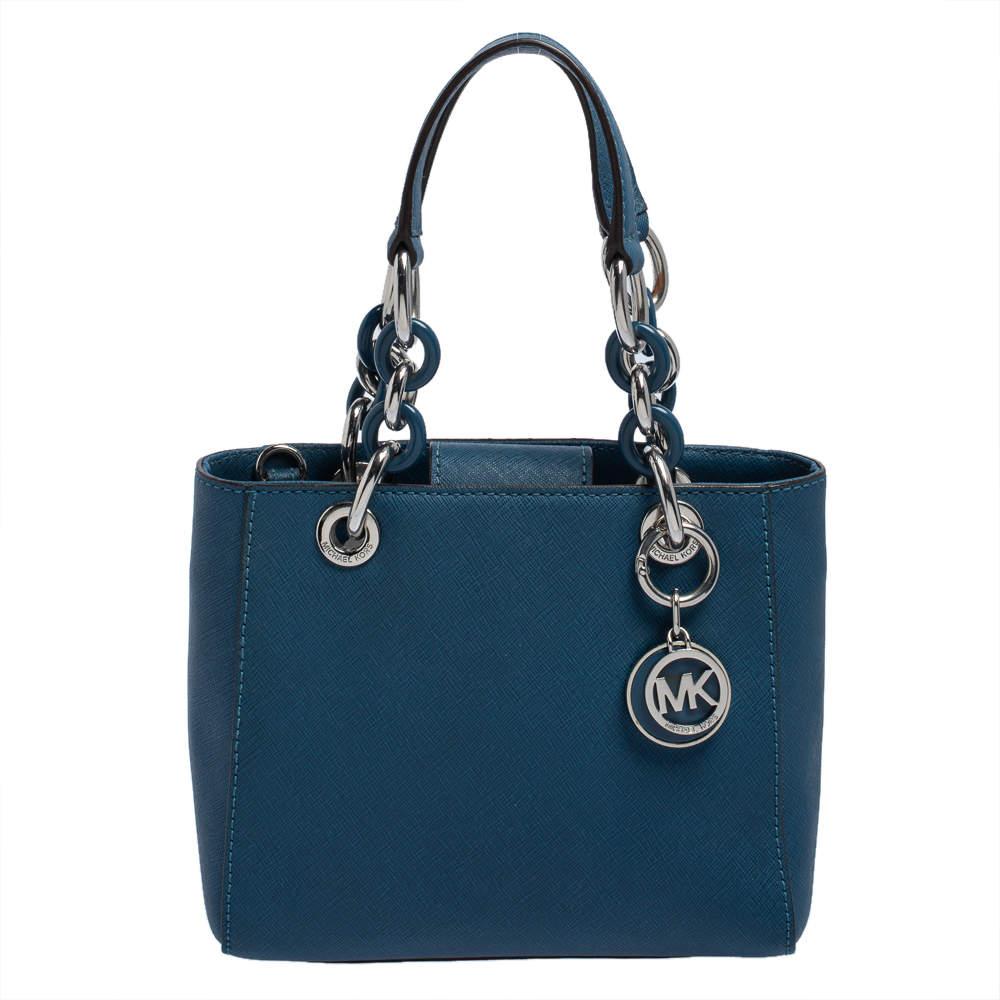 MICHAEL Michael Kors Blue Leather Mini Cynthia Tote
